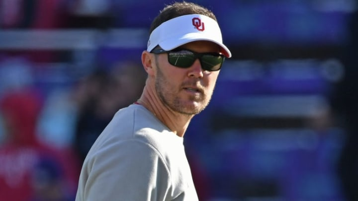 MANHATTAN, KS - OCTOBER 26:  Head coach Lincoln Riley of the Oklahoma Sooners looks on during pre-game workouts, prior to a game against the Kansas State Wildcats at Bill Snyder Family Football Stadium on October 26, 2019 in Manhattan, Kansas. (Photo by Peter G. Aiken/Getty Images)