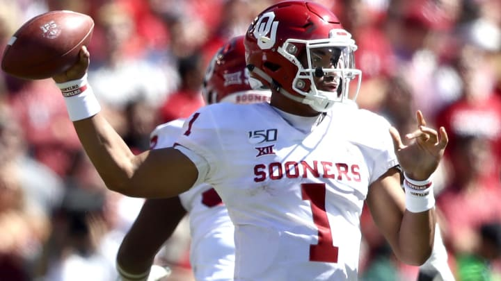 DALLAS, TEXAS - OCTOBER 12:  Jalen Hurts #1 of the Oklahoma Sooners during the 2019 AT&T Red River Showdown at Cotton Bowl on October 12, 2019 in Dallas, Texas. (Photo by Ronald Martinez/Getty Images)
