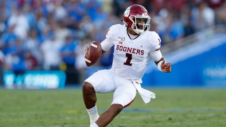 LOS ANGELES, CALIFORNIA - SEPTEMBER 14:  Jalen Hurts #1 of the Oklahoma Sooners runs the ball during the second half of a game against the UCLA Bruins on at the Rose Bowl on September 14, 2019 in Los Angeles, California. (Photo by Sean M. Haffey/Getty Images)