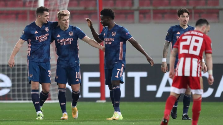 Martin Odegaard is congratulated having edged his side in front