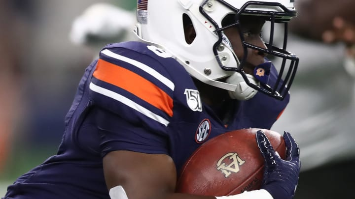 ARLINGTON, TEXAS - AUGUST 31:  Shaun Shivers #8 of the Auburn Tigers during the Advocare Classic at AT&T Stadium on August 31, 2019 in Arlington, Texas. (Photo by Ronald Martinez/Getty Images)