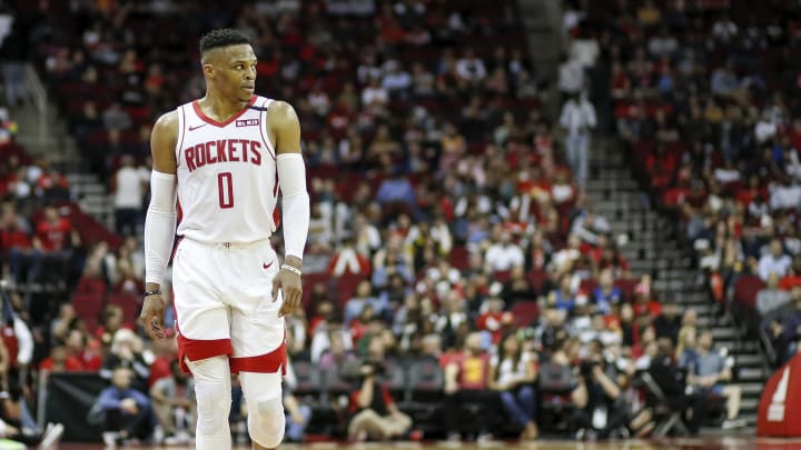 Russell Westbrook plays for the Houston Rockets against the Orlando Magic