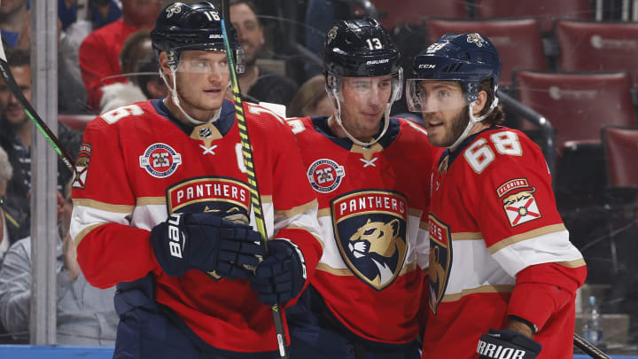 SUNRISE, FL - MARCH 3: Aleksander Barkov #16 celebrates his first period goal with Mike Hoffman #68 and Mark Pysyk #13 of the Florida Panthers xagainstthe Ottawa Senators at the BB&T Center on March 3, 2019 in Sunrise, Florida. (Photo by Joel Auerbach/Getty Images)