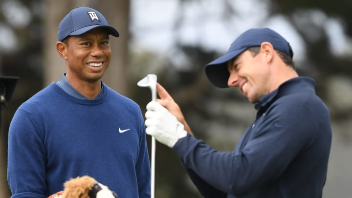 Tiger Woods and Rory McIlroy at the PGA Championship - Round One