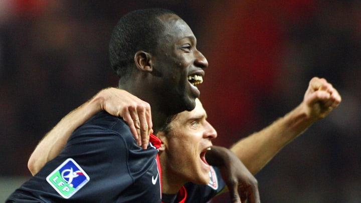 PSG forward Amara Diane (L) celebrates w