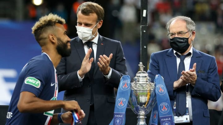 Emmanuel Macron, Noel Le Graet, Eric Maxim Choupo-Moting