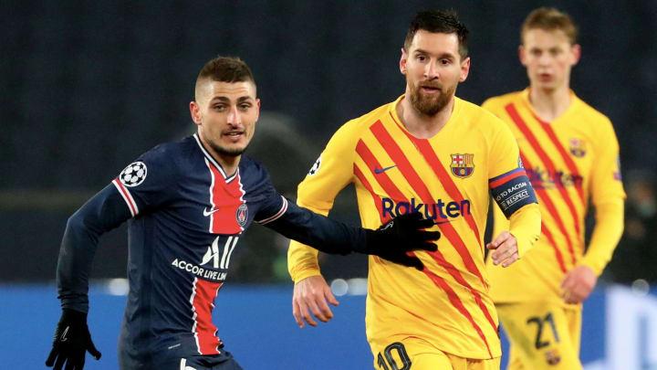 Marco Verratti, à la lutte avec Lionel Messi