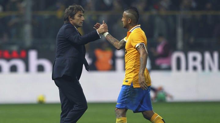 Vidal y Conte en la Juventus