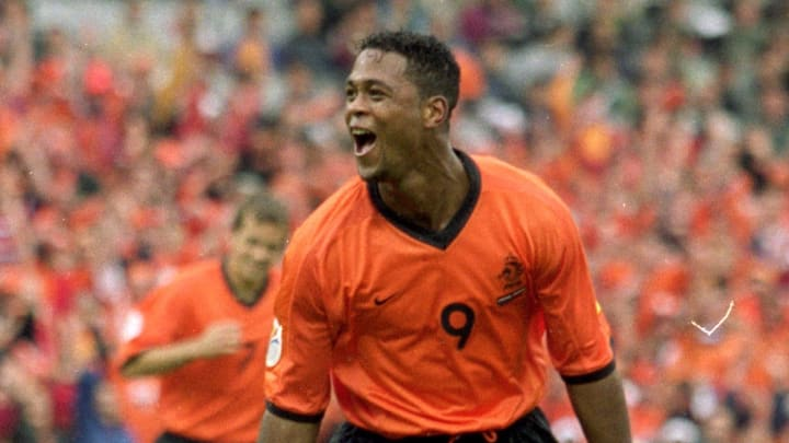 Patrick Kluivert celebrates scoring against Yugoslavia