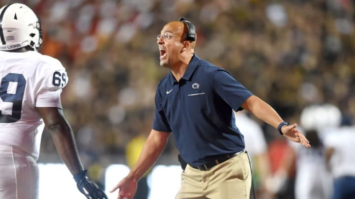 COLLEGE PARK, MD - SEPTEMBER 27:  Head coach James Franklin of the Penn State Nittany Lions celebrates a C.J. Thorpe #69 during a college football game against the Maryland Terrapins at Capital One Field at Maryland Stadium on September 27, 2019 in College Park, Maryland.  (Photo by Mitchell Layton/Getty Images)