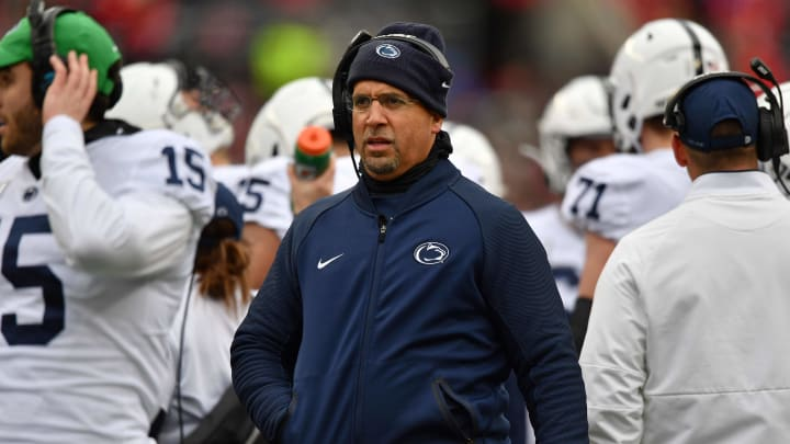 COLUMBUS, OH - NOVEMBER 23:  Head Coach James Franklin of the Penn State Nittany Lions watches his team play against the Ohio State Buckeyes at Ohio Stadium on November 23, 2019 in Columbus, Ohio.  (Photo by Jamie Sabau/Getty Images)