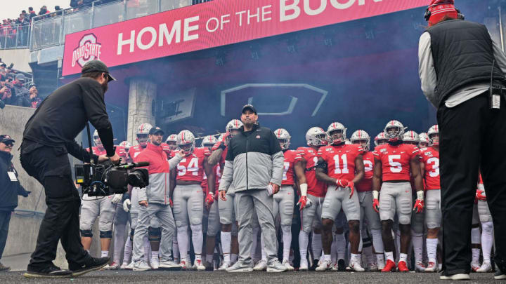 COLUMBUS, OH - NOVEMBER 23:  Head Coach Ryan Day of the Ohio State Buckeyes and his team prepare to take the field before a game against the Penn State Nittany Lions at Ohio Stadium on November 23, 2019 in Columbus, Ohio.  (Photo by Jamie Sabau/Getty Images)