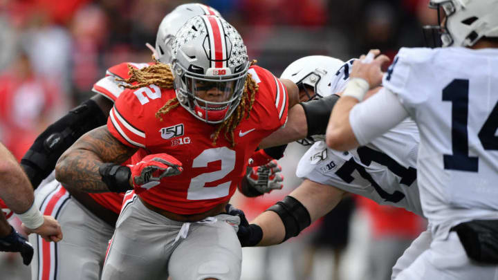 COLUMBUS, OH - NOVEMBER 23:  Chase Young #2 of the Ohio State Buckeyes chases down the ballcarrier against the Penn State Nittany Lions at Ohio Stadium on November 23, 2019 in Columbus, Ohio.  (Photo by Jamie Sabau/Getty Images)