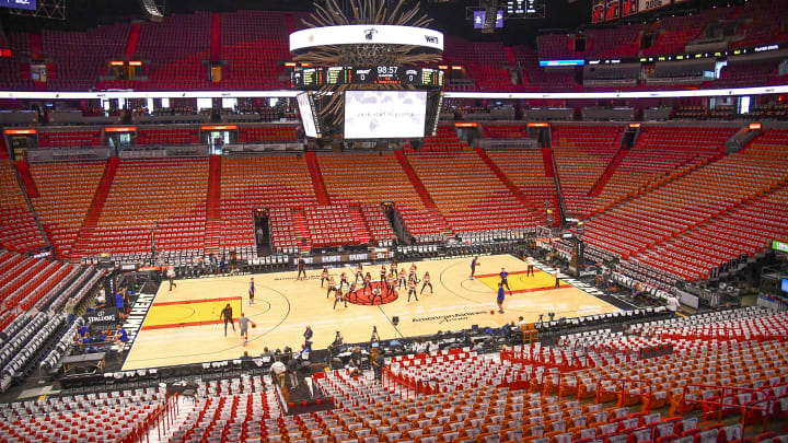 MIAMI, FL - APRIL 21:  A detailed view of the Miami Heat playoff shirts in the seats through the arena before Game Four of Round One of the 2018 NBA Playoffs between the Miami Heat and the Philadelphia 76ers at American Airlines Arena on April 21, 2018 in Miami, Florida. NOTE TO USER: User expressly acknowledges and agrees that, by downloading and or using this photograph, User is consenting to the terms and conditions of the Getty Images License Agreement. (Photo by Mark Brown/Getty Images)