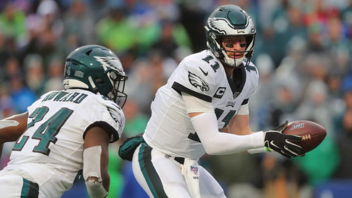 ORCHARD PARK, NY - OCTOBER 27:  Carson Wentz #11 of the Philadelphia Eagles looks to hand the ball off during the second half against the Buffalo Bills at New Era Field on October 27, 2019 in Orchard Park, New York. Philadelphia Eagles beat the Buffalo Bills 31-13. (Photo by Timothy T Ludwig/Getty Images)