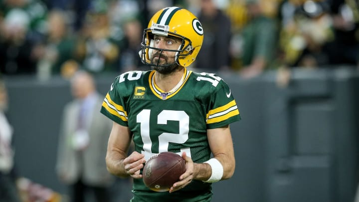 GREEN BAY, WISCONSIN - SEPTEMBER 26:  Aaron Rodgers #12 of the Green Bay Packers looks on before the game against the Philadelphia Eagles at Lambeau Field on September 26, 2019 in Green Bay, Wisconsin. (Photo by Dylan Buell/Getty Images)