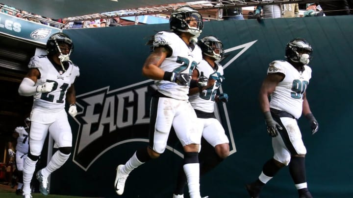 LONDON, ENGLAND - OCTOBER 28: Philadelphia Eagles players run out to the pitch for the third quarter during the NFL International Series match between Philadelphia Eagles and Jacksonville Jaguars at Wembley Stadium on October 28, 2018 in London, England. (Photo by Kate McShane/Getty Images)