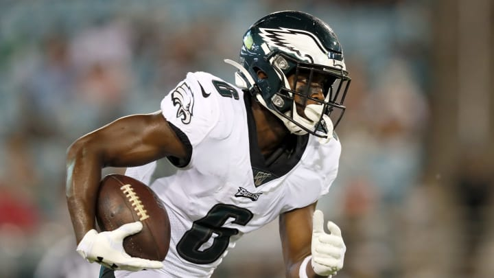 JACKSONVILLE, FLORIDA - AUGUST 15: Greg Ward #6 of the Philadelphia Eagles runs the ball against the Jacksonville Jaguars during a preseason game at TIAA Bank Field on August 15, 2019 in Jacksonville, Florida. (Photo by James Gilbert/Getty Images)
