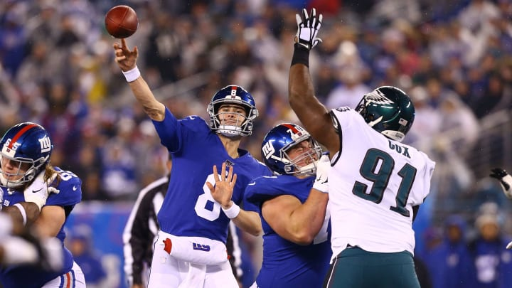 Daniel Jones launches a ball downfield against the Philadelphia Eagles