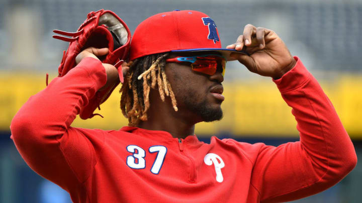 KANSAS CITY, MISSOURI - MAY 11:  Odubel Herrera #37 of the Philadelphia Phillies adjusts his cap as he prepares for batting practice prior to a game against the Kansas City Royals at Kauffman Stadium on May 11, 2019 in Kansas City, Missouri. (Photo by Ed Zurga/Getty Images)