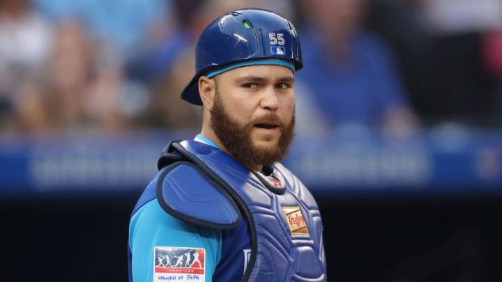 TORONTO, ON - AUGUST 24: Russell Martin #55 of the Toronto Blue Jays looks on from behind home plate on Players Weekend during MLB game action against the Philadelphia Phillies at Rogers Centre on August 24, 2018 in Toronto, Canada. (Photo by Tom Szczerbowski/Getty Images)
