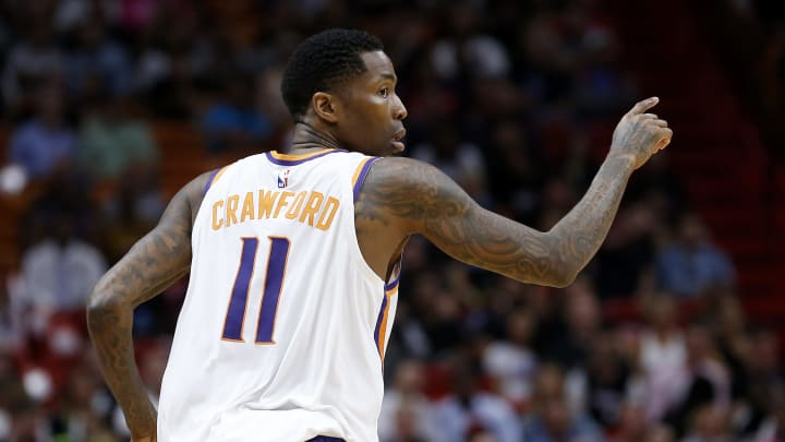 MIAMI, FLORIDA - FEBRUARY 25:  Jamal Crawford #11 of the Phoenix Suns in action against the Miami Heat during the second half at American Airlines Arena on February 25, 2019 in Miami, Florida. NOTE TO USER: User expressly acknowledges and agrees that, by downloading and or using this photograph, User is consenting to the terms and conditions of the Getty Images License Agreement. (Photo by Michael Reaves/Getty Images)