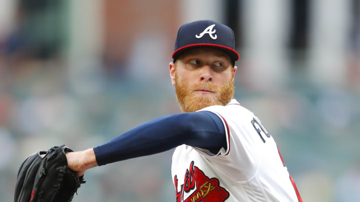 ATLANTA, GA - JUNE 11:  Mike Foltynewicz #26 of the Atlanta Braves pitches in the first inning of an MLB game against the Pittsburgh Pirates at SunTrust Park on June 11, 2019 in Atlanta, Georgia. (Photo by Todd Kirkland/Getty Images)