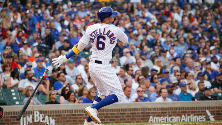 CHICAGO, ILLINOIS - SEPTEMBER 13: Nicholas Castellanos #6 of the Chicago Cubs hits a two run home run during the first inning of a game against the Pittsburgh Pirates at Wrigley Field on September 13, 2019 in Chicago, Illinois. (Photo by Nuccio DiNuzzo/Getty Images)