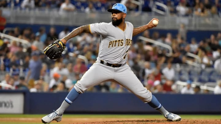 MIAMI, FL - JUNE 16: Felipe Vazquez #73 of the Pittsburgh Pirates delivers a pitch during the ninth inning against the Miami Marlins at Marlins Park on June 16, 2019 in Miami, Florida. (Photo by Eric Espada/Getty Images)
