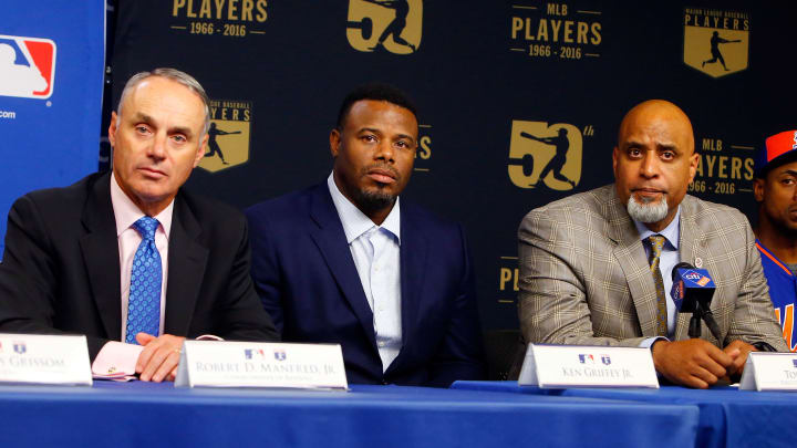 NEW YORK, NY - JUNE 16:  (L-R) Commissioner of Baseball Robert D. Manfred Jr., 2016 Hall of Fame inductee Ken Griffey Jr. and MLBPA Executive Director Tony Clark look on during a press conference on youth initiatives hosted by Major League Baseball and the Major League Baseball Players Association at Citi Field on Thursday, June 16, 2016 in the Queens borough of New York City.  (Photo by Jim McIsaac/Getty Images)
