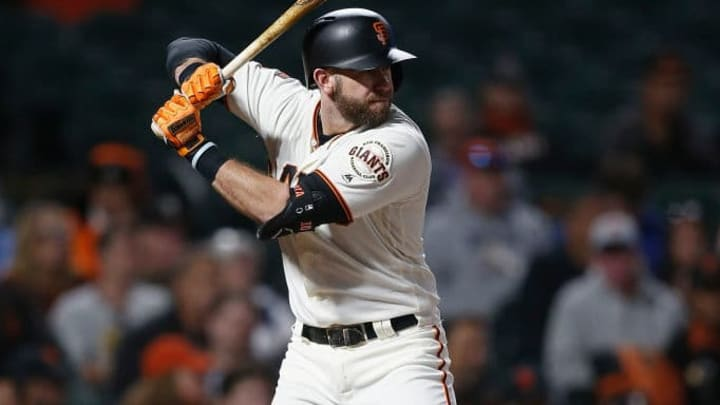 SAN FRANCISCO, CALIFORNIA - SEPTEMBER 10: Evan Longoria #10 of the San Francisco Giants at bat against the Pittsburgh Pirates at Oracle Park on September 10, 2019 in San Francisco, California. (Photo by Lachlan Cunningham/Getty Images)