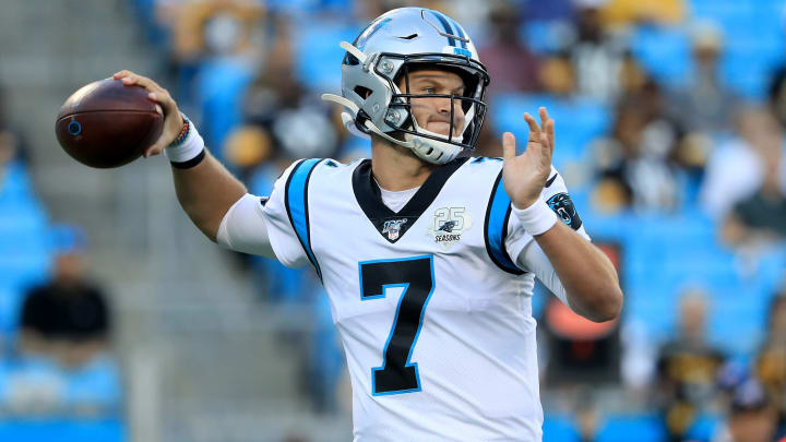 CHARLOTTE, NORTH CAROLINA - AUGUST 29: Kyle Allen #7 of the Carolina Panthers drops back to pass against the Pittsburgh Steelers during their preseason game at Bank of America Stadium on August 29, 2019 in Charlotte, North Carolina. (Photo by Streeter Lecka/Getty Images)