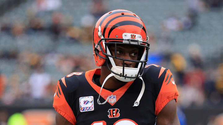CINCINNATI, OH - OCTOBER 14:  A.J. Green #18 of the Cincinnati Bengals warms up pror to the start of the game against the Pittsburgh Steelers at Paul Brown Stadium on October 14, 2018 in Cincinnati, Ohio.  (Photo by Andy Lyons/Getty Images)