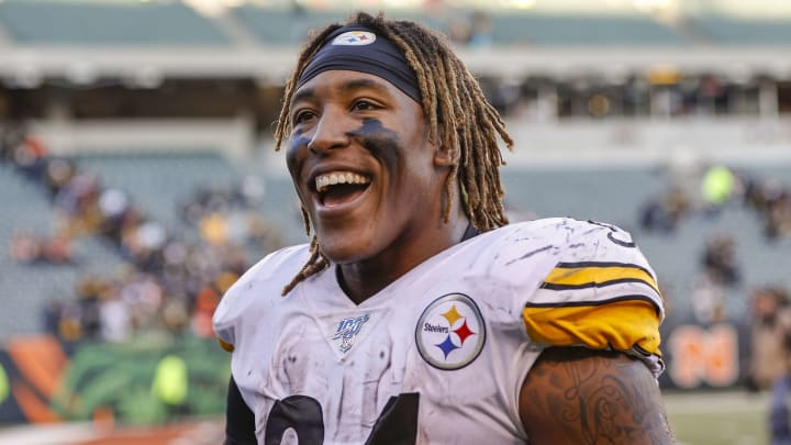 CINCINNATI, OH - NOVEMBER 24: Benny Snell #24 of the Pittsburgh Steelers is seen after the game against the Cincinnati Bengals at Paul Brown Stadium on November 24, 2019 in Cincinnati, Ohio. (Photo by Michael Hickey/Getty Images)