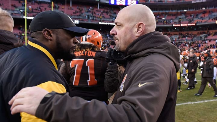 CLEVELAND, OH - JANUARY 3:  Head coach Mike Pettine of the Cleveland Browns congratulates head coach Mike Tomlin of the Pittsburgh Steelers after Pittsburgh's 28-12 win at FirstEnergy Stadium on January 3, 2016 in Cleveland, Ohio.  (Photo by Jason Miller/Getty Images)