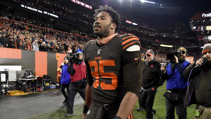 CLEVELAND, OHIO - NOVEMBER 14: Defensive end Myles Garrett #95 of the Cleveland Browns walks off the field after the game against the Pittsburgh Steelers at FirstEnergy Stadium on November 14, 2019 in Cleveland, Ohio. The Browns defeated the Steelers 21-7.  (Photo by Jason Miller/Getty Images)