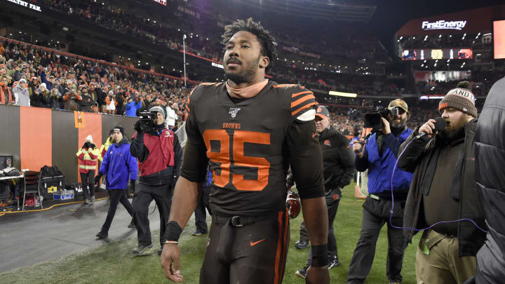 Myles Garrett walks off the field after the Cleveland Browns faced the Pittsburgh Steelers