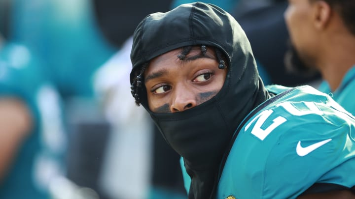 JACKSONVILLE, FL - NOVEMBER 18: Jalen Ramsey #20 of the Jacksonville Jaguars is seen on the bench during the second half of the game against the Pittsburgh Steelers at TIAA Bank Field on November 18, 2018 in Jacksonville, Florida.  (Photo by Scott Halleran/Getty Images)