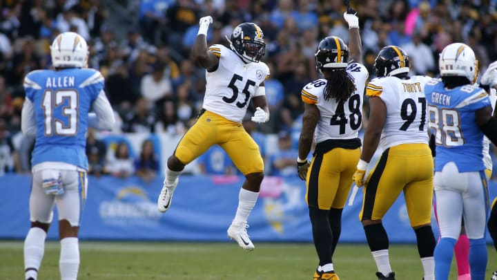 CARSON, CALIFORNIA - OCTOBER 13:  Linebacker Devin Bush #55  and outside linebacker Bud Dupree #48 of the Pittsburgh Steelers celebrate a down during the first quarter against the Los Angeles Chargers at Dignity Health Sports Park on October 13, 2019 in Carson, California. (Photo by Katharine Lotze/Getty Images)