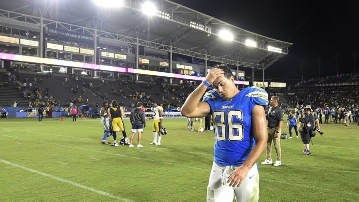 CARSON, CA - OCTOBER 13: Hunter Henry #86 of the Los Angeles Chargers walks off the field after a 24-17 loss to the Pittsburgh Steelers at Dignity Health Sports Park October 13, 2019 in Carson, California. (Photo by Denis Poroy/Getty Images)