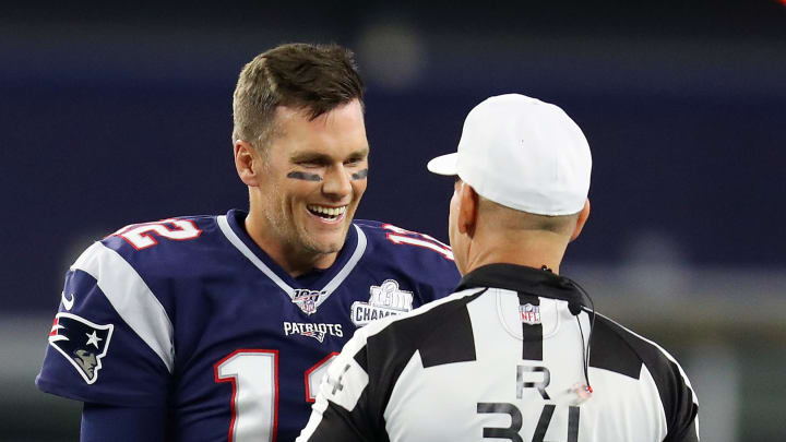 FOXBOROUGH, MASSACHUSETTS - SEPTEMBER 08: Tom Brady #12 of the New England Patriots talks with Referee Clete Blakeman before the game between the New England Patriots and the Pittsburgh Steelers at Gillette Stadium on September 08, 2019 in Foxborough, Massachusetts. (Photo by Maddie Meyer/Getty Images)