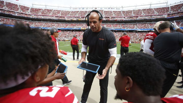 SANTA CLARA, CA - SEPTEMBER 22: Defensive Coordinator Robert Saleh of the San Francisco 49ers talks with the defensive backs on the sideline during the game against the Pittsburgh Steelers at Levi's Stadium on September 22, 2019 in Santa Clara, California. The 49ers defeated the Steelers 24-20. (Photo by Michael Zagaris/San Francisco 49ers/Getty Images)