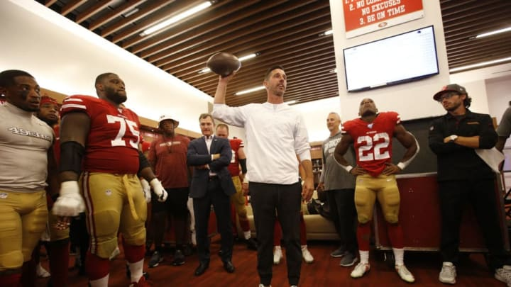 SANTA CLARA, CA - SEPTEMBER 22: Head Coach Kyle Shanahan of the San Francisco 49ers addresses the team in the locker room following the game against the Pittsburgh Steelers at Levi's Stadium on September 22, 2019 in Santa Clara, California. The 49ers defeated the Steelers 24-20. (Photo by Michael Zagaris/San Francisco 49ers/Getty Images)