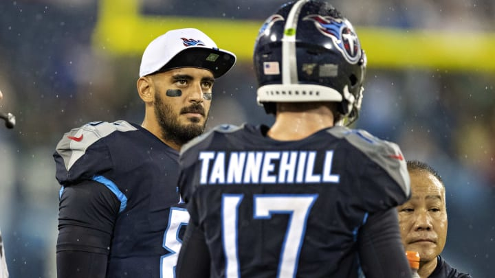 NASHVILLE, TN - AUGUST 17:  Marcus Mariota #8 talks with Ryan Tannehill #17 of the Tennessee Titans on the sidelines during a game against the Pittsburgh Steelers in week three of preseason at Nissan Stadium on August 25, 2019 in Nashville, Tennessee.  (Photo by Wesley Hitt/Getty Images)