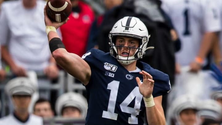 STATE COLLEGE, PA - SEPTEMBER 14: Sean Clifford #14 of the Penn State Nittany Lions attempts a pass against the Pittsburgh Panthers during the first half at Beaver Stadium on September 14, 2019 in State College, Pennsylvania. (Photo by Scott Taetsch/Getty Images)