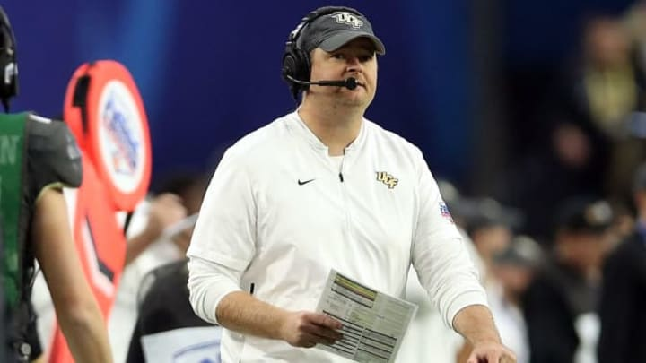 GLENDALE, ARIZONA - JANUARY 01: Head coach Josh Heupel of the UCF Knights watches the action during the first half of the PlayStation Fiesta Bowl between LSU and Central Florida at State Farm Stadium on January 01, 2019 in Glendale, Arizona. (Photo by Christian Petersen/Getty Images)