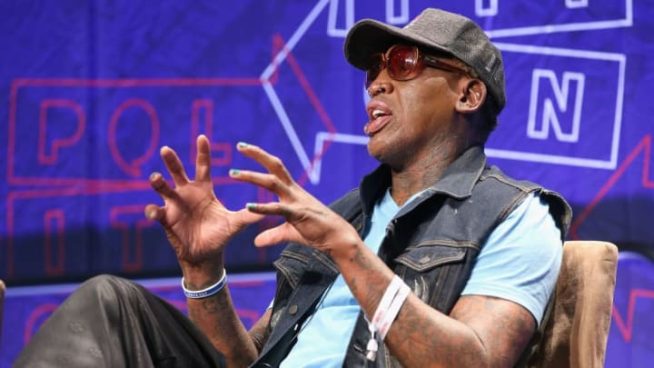 LOS ANGELES, CA - OCTOBER 20:  Dennis Rodman speaks onstage during Politicon 2018 at Los Angeles Convention Center on October 20, 2018 in Los Angeles, California.  (Photo by Phillip Faraone/Getty Images for Politicon)