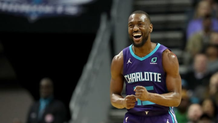 CHARLOTTE, NORTH CAROLINA - MARCH 03: Kemba Walker #15 of the Charlotte Hornets reacts after a play against the Portland Trail Blazers during their game at Spectrum Center on March 03, 2019 in Charlotte, North Carolina. NOTE TO USER: User expressly acknowledges and agrees that, by downloading and or using this photograph, User is consenting to the terms and conditions of the Getty Images License Agreement. (Photo by Streeter Lecka/Getty Images)