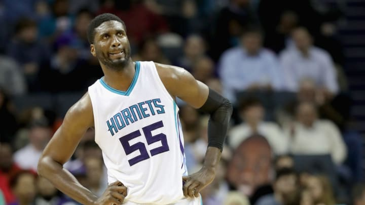 CHARLOTTE, NC - JANUARY 18:  Roy Hibbert #55 of the Charlotte Hornets watches on against the Portland Trail Blazers during their game at Spectrum Center on January 18, 2017 in Charlotte, North Carolina.  NOTE TO USER: User expressly acknowledges and agrees that, by downloading and or using this photograph, User is consenting to the terms and conditions of the Getty Images License Agreement.  (Photo by Streeter Lecka/Getty Images)