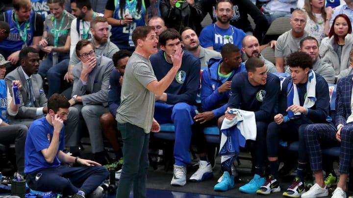 Mark Cuban during a Mavericks game.